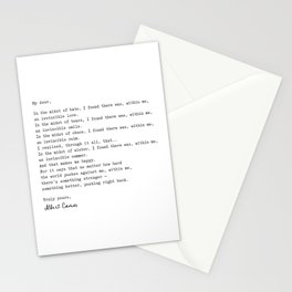 Albert Camus Quote - My Dear in the midst of hate I found Stationery Cards