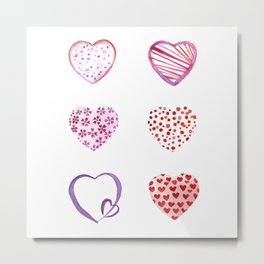 Watercolor Pink Hearts Metal Print