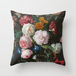 Still Life with Flowers by Jan Davidsz. de Heem Throw Pillow