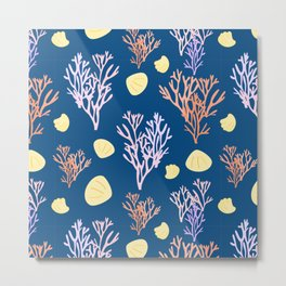 Corals & Shells Seamless Pattern with Deep Blue Background Metal Print