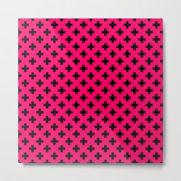 Black Crosses on Hot Neon Pink Metal Print