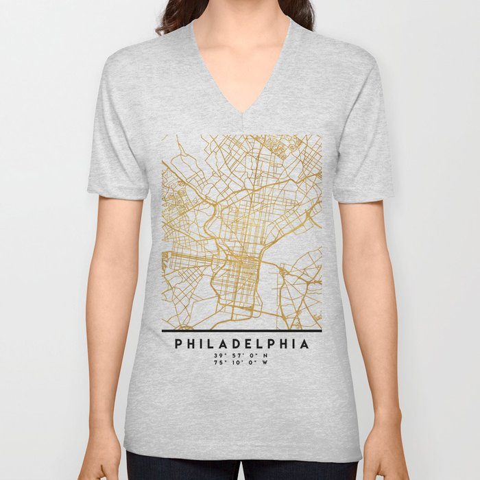 PHILADELPHIA PENNSYLVANIA CITY STREET MAP ART Unisex V-Neck