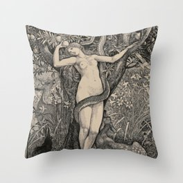 Eve And The Serpent Throw Pillow