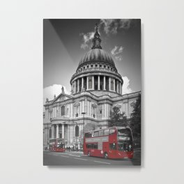 LONDON St. Paul's Cathedral & Red Bus Metal Print