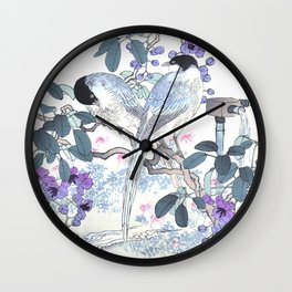 Couple Of Magpies And Purple Flowers - Antique Japanese Woodblock Print Art By Kono Bairei Wall Clock