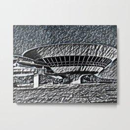 Brazil Niterói Contemporary Art Museum Artistic Illustration Aluminium Foil Style Metal Print