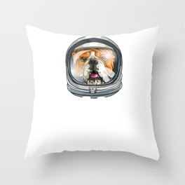 Spaced Out Astronaut Bulldog Outserspace Science Geek Throw Pillow