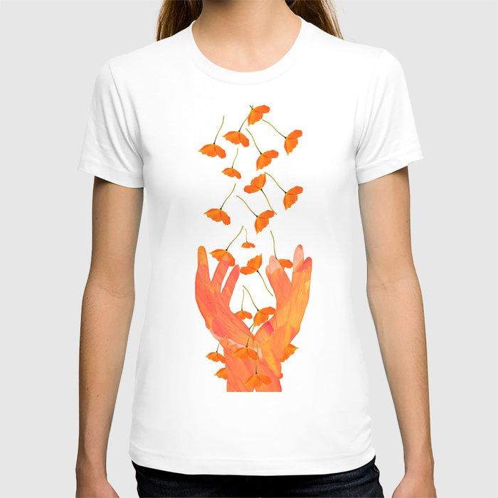 Wonderful Poppy Flowers Orange Coral Color White Background #decor #society6 #buyart T-shirt