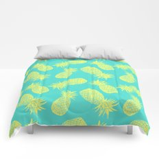 Pineapple Pattern - Turquoise & Lemon Comforters