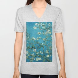 Vincent van Gogh Blossoming Almond Tree (Almond Blossoms) Light Blue Unisex V-Neck