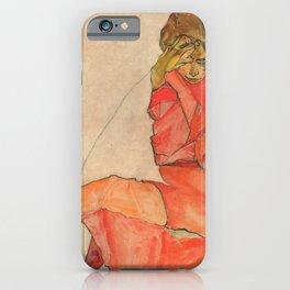 Egon Schiele - Kneeling Female in Orange-Red Dress iPhone Case