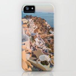 Golden Hour | Landscape Photography of Santorini Sunset Over Greece White Buildings iPhone Case