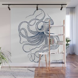 Blue nautical vintage octopus illustration Wall Mural