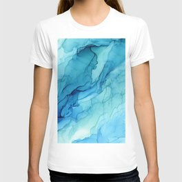 Emerald Sea Waves - Abstract Ombre Flowing Ink T-shirt