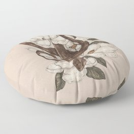 Snake and Magnolias Floor Pillow