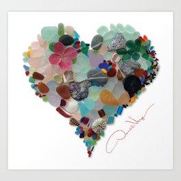Love - Original Sea Glass Heart Kunstdrucke