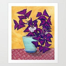 Purple Shamrock Houseplant Painting Art Print