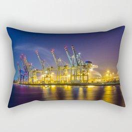 Port of Hamburg at night with colorful illumination Rectangular Pillow