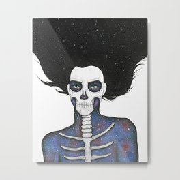 Galaxy Skull Girl Metal Print