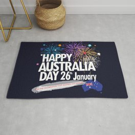 Happy Australia Day 26th January inscription poster with Australian Flag, Australia Map, stars and fireworks. Funny Australia, Patriotic National Holiday Festive Poster for gifts and clothing design. Festival Event decoration. T-Shirt Rug