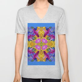 Blue  Patterns Morning Glories & Gold Unisex V-Neck