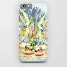 Watercolor Under Sea Collection: Shells and Sea Grass iPhone Case