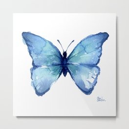 Blue Butterfly Watercolor Metal Print