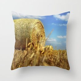 Big Straw Bales Landscape Throw Pillow