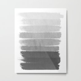 Brushstroke - Ombre Grey, Charcoal, minimal, Monochrome, black and white, trendy,  painterly art  Metal Print