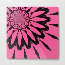 The Modern Flower Pink & Black Metal Print