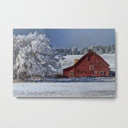 Red On White Metal Print