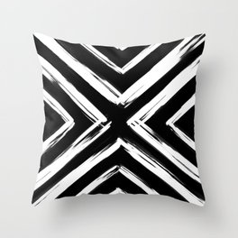 Minimalistic Black and White Paint Brush Triangle Diamond Pattern Throw Pillow