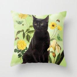 Green Dream Cat Throw Pillow