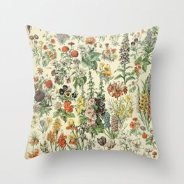 Adolphe Millot Vintage Fleurs Flower 1909 Throw Pillow