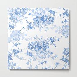Modern navy blue white watercolor elegant floral Metal Print