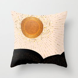 Rays of Love - Golden Glow Throw Pillow