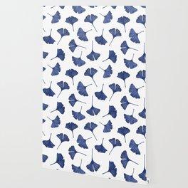 Blue Ginkgo Biloba Pattern Wallpaper