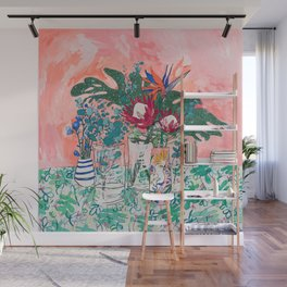 Cockatoo Vase - Bouquet of Flowers on Coral and Jungle Wall Mural