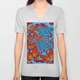 Blue & Orange Butterflies Abstract Pattern Art Unisex V-Neck