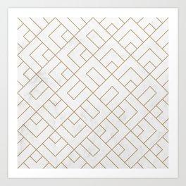 Golden Marble Square Floor Pattern Kunstdrucke