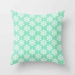 Ship Wheel (White & Mint Pattern) Throw Pillow