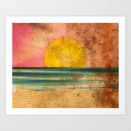 Ocean Sunset Vintage 2.0 Art Print
