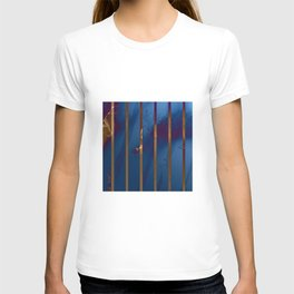 Electric Blue Abstract with Gold Stripes T-shirt