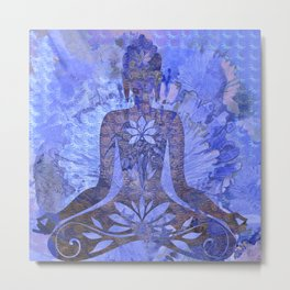 Distressed Textured Meditation Print Metal Print