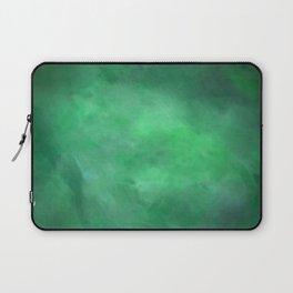 Abstract Watercolor Blend 2 Deep Dark Green and Light Green Laptop Sleeve
