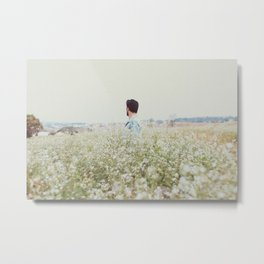 Man - Flowers - Field - Photography Metal Print