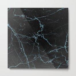 Modern abstract black teal elegant glitter marble Metal Print