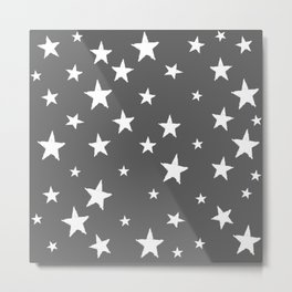 Hand-Drawn Stars (White & Grey Pattern) Metal Print