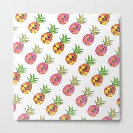 Modern Pineapple Art Print Pattern in watercolour Metal Print