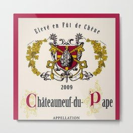 Vintage French Chateau du Page Controlee Wine Bottle Label Print Metal Print